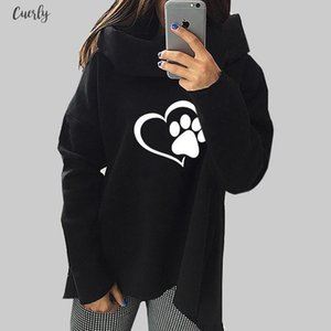 2020 New Fashion Heart Cat Or Dog Pat Print Regular Pattern Clothes Women Hoodies Scarf Collar Casual Sweatshirts Pullovers For Female