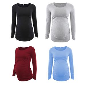 T-shirts de maternité femmes T-shirts à manches longues manches rondes solides longueur de longueur moyenne longueur à rayures motif animal 23