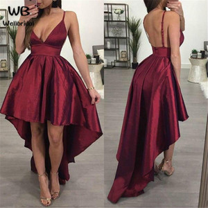 Sexy rojo oscuro una línea de vestidos de graduación con la parte posterior de la cremallera del satén del espagueti de Hi Lo de baile vestido barato 2020