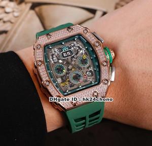 Novos 9 Estilo Melhor RM11-03 Diamantes Rosa de Ouro autoamtic Mens Watch Diamante Bezel Esqueleto Dial pulseira de borracha verde Gents Relógios M17