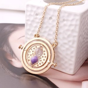 2018 Harry Time Reversal Hourglass 360 Degree Rotatable Time Converter Magic Potter Pendant Gifts for Kids Movie Fan Pendant Necklaces