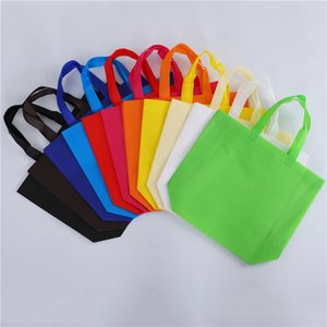 Reusable Shopping Bag Candy Color Non-Woven Fabric Bags Folding Shopping Bag For promotion Gift shoes Chrismas Grocery Bags Shop