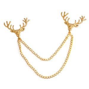 Deer Head catena spilla nappa spilla collare della camicia pin gioielli di moda