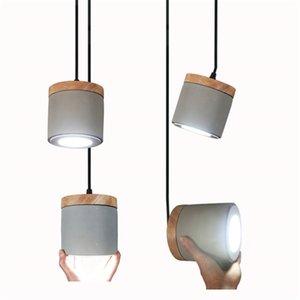 Endüstriyel Çimento Kolye Işıkları Yaratıcı Ahşap Nordic Cment Süspansiyon Lamba Restoran Cafe Oturma Odası Yatak Odası Giyim No97