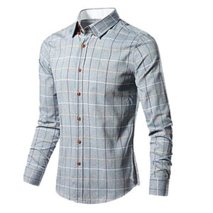 Mens Fashion Casual Luxury elegante Slim Fit manga comprida xadrez Casual Shirts