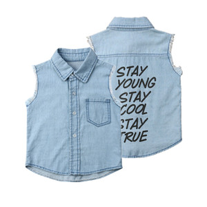 Summer Kids Baby Boys Girls Shirts Fashion Letter Printed Denim Clothes Outfits Toddler Child Boys Clothing Outfits Sets Coat