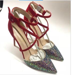 Nuevos Tipo de lentejuelas Sandalias Zapatos de tacón alto para mujer Cusp Fine Heel Solic Shoes 10 cm Código grande 44 Banquete Boda Nightclub Rojo Zapatos de abajo
