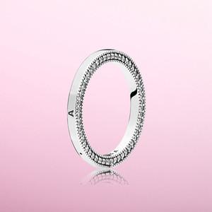 Personalisierter doppelseitiger Ring-Ring-Mode für Pandora 925 Sterling Silber mit CZ-Diamanten mit Original-Kasten-Damen-Valentinstag-Geschenk