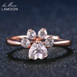 LAMOON الدب باو 5MM 100٪ الوردي الطبيعي روز كوارتز قابل للتعديل حزام مجوهرات 925 الاسترليني الفضة الجميلة للمرأة RI027-2 الزفاف