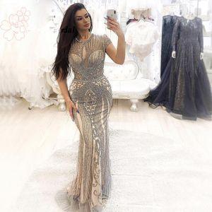 Темно-синий синие блестки из бисера без рукавов роскошные вечерние платья O-образным вырезом Полный бриллиант сексуальный yousef Aljasmi случай Prom Pageant