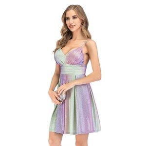 2020 Womens Designer V vestidos de verano atractivo del cuello de la camiseta de lentejuelas vestido artesonado delgado del mini vestido de la ropa femenina