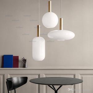 Nordic latte di vetro Lampada a sospensione rotonda ovale Cilindro Hotel Restaurant Lounge Studio Ufficio Camera metallo creativo A sospensione