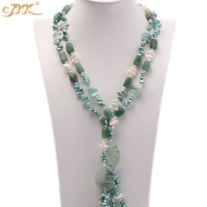 """collana Jyx 618sale Verde Estate! NUOVO Jade con 8 * catena di perle di cristallo 11mm 63"""" migliore regalo elegante per le donne"""