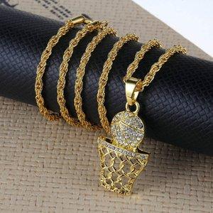 Персонализированные Мужчины Баскетбол Кулон Ожерелья Хип-Хоп Ювелирные Изделия 2019 Женская Мода Золото Длинная Цепь Заявление Горный Хрусталь Ожерелье