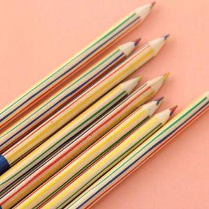 10 unids / pack Diy Aikawa Imu Color Pen Wood Rainbow Triangle Four Core Lápiz Para Niños Escuela Graffiti Pintura