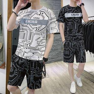 2020 Новый Lycra Прохладный футболку повседневные брюки с короткими рукавами Спортивный костюм лето шорты Ice Шелковый два-Piece Set