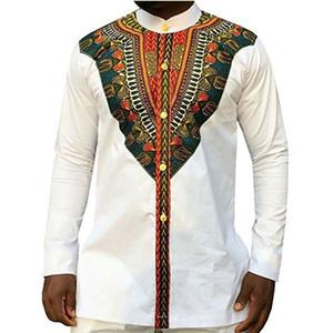 Племенной этнический принт Африканские Dashiki классические рубашки Мужская одежда в стиле Африки с длинным рукавом дизайн