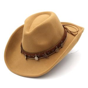 Горячая продажа мужской гулянку Street Punk Пляж Панама Top Hat Wide Подъем рулонная Брим Западный Ковбой Вводная Gentleman Джаз Сомбреро Cap
