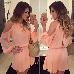 Womens Dress Summer Casual Long Sleeve Pink Off Shoulder Casual Mini Dress Party Short Dress Solid Color Womens 2020 Hot