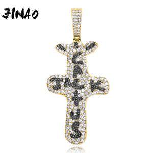 Jinao New Hip Hop Moda Out Cactus Jack Cartas sobre Colar Pingente Bling presentes charme jóias masculinas Cubic Zircon