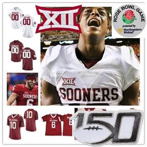 Personalizzato Oklahoma Sooners 2019 NUOVO salto di calcio qualsiasi nome Numero # 1 Hurts 2 Agnello Sermone 15 Tanner Mordecai Rosso Bianco NCAA Jersey 150 °