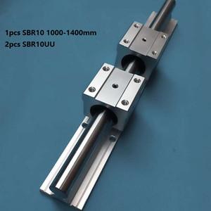 1 pz SBR10 1000mm / 1100mm / 1200mm / 1300mm / 1400mm guida di supporto guida lineare + 2 pz SBR10UU blocchi di cuscinetti lineari per router di cnc