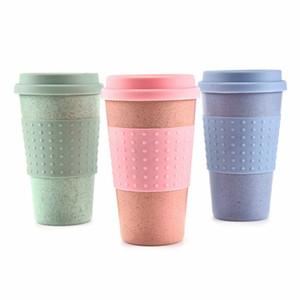 Taza taza de la bebida ecológico té café paja de trigo con agua del recorrido de silicona tapa Vasos Azul Verde Rosa