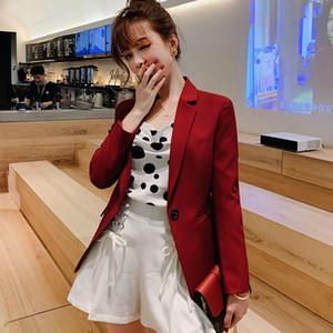 Весна-лето корейской версии новых женщин Бизнес Повседневный костюм Тонкий талии Сплошной цвет Blazer Jacket