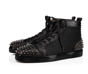 2019 Italy Handmade Red Bottom Sneaker Uomo Scarpe High Top Pelle di vitello Nero Aclouflat Spikes 2 Sneaker Flat Spike all'ingrosso