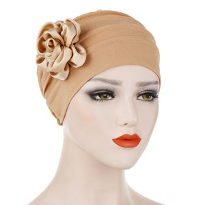 Solid Floral India Hat Muslim Ruffle women hat summer Cancer Chemo women hats summer 2019 beanie women gray Turban Wrap Cap#P7