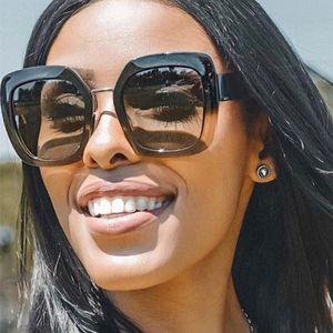 NYWOOH Retro Square Sunglasses Women Oversized Gradient Sun Glasses Ladies Big Frame Eyewear UV400
