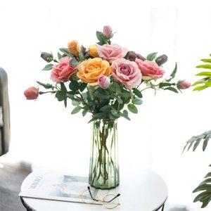 """Поддельный Korean Rose (2 головки / шт) 26,38"""" Длина Simulation Картина масло Розы для Главных Свадебных Декоративных искусственных цветов"""
