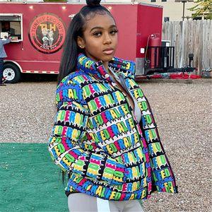 2020 Primavera Tsuretobe impresión de la letra Puffer Jacket Mujeres Abajo cubren gruesa chaqueta de invierno más el tamaño de la burbuja caliente ocasional outwear abajo de la chaqueta femenina