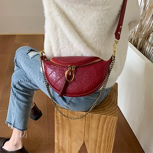 Solid Color Pu Leather Crossbody Bags For Women 2019 Round Zipper Shoulder Messenger Bag Lady Chain Travel Handbags MX200324