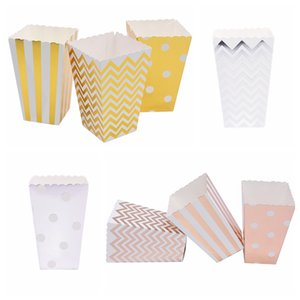 6 12pcs Popcorn Boxes Stripe Dot Wave Candy Paper Bags for Wedding Birthday Party Boxes Decoration Movie Popcorn Box Supplies 7z