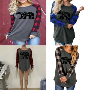 긴 소매 여성 T 셔츠 엄마 곰 풀오버 후드 티 블라우스 격자 무늬 패치 워크 T 셔츠 느슨한 스웨터 스포츠 의류 캐주얼 DHL A120505 탑
