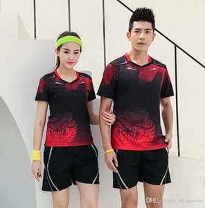 Eşofman Jersey Nefes Badminton Gömlek Üniformalar Kadınlar / Erkekler Masa Tenisi Giyim Takım Oyunu Kısa Kollu T Shirt Şort