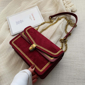 Designer-Vintage Embroidered Suede Flap Chain Shoulder Crossbody Bag for Women Handbags Ladies Messenger Clutch Casual Totes Female Purse