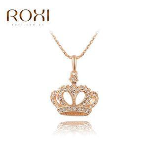 2018 ROXI Couronne Pendentif Collier Rose Or Couleur Mode Femmes Cristal De Mariage collier tour de cou Bijoux pour Dame Cadeaux bijoux