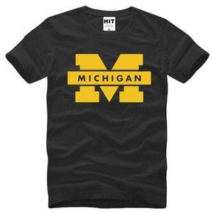 Université du Michigan Logo T-shirt imprimé Homme Nouveau d'été à manches courtes en coton O-Neck T Shirt Homme Homme Top Tee Marque Vêtements