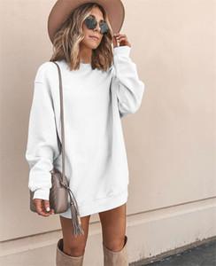 Зимние женщины Pure Color Dress Повседневная обшитые панелями свободные женские платья модельер с длинным рукавом одежды