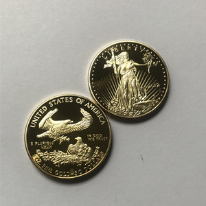 100 Pcs Non magnetic Freedom Eagle 2012 badge gold plated 32.6 mm American statue beauty liberty drop shipping acceptable coins