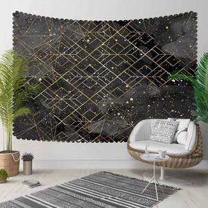 Else Black Golden Yellow Stars Geometric Lines 3D Print Decorative Hippi Bohemian Wall Hanging Landscape Tapestry Wall Art