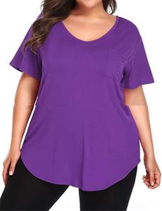 Womens Solid Designer Couleur T-shirts manches courtes Mode lambrissé Femmes V Neck Top Summer Ladies Plus Size T Casual