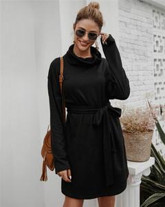 Frauen-Herbst-Winter-Baumwolle mit langen Ärmeln eleganten Strick Bodycon Taillenschnürung Sweater Enges Kleid 4Colors