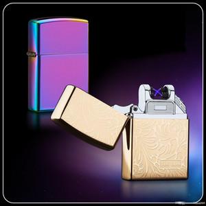 Doble Arco de electrones pulsado hielo encendedor de cigarrillos a prueba de viento de plasma electricos encendedores de cigarrillos USB recargable encendedor con la caja libre de DHL