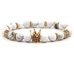73 recién Estilos de 8 mm pulsera de piedra natural de la turquesa de la joyería de lujo de circonio cúbico Corona pulsera de las mujeres del regalo Bracelects de cuarzo rosa