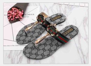 6521 femmes glissière Sandales Designer de luxe Diapo Été Mode plat large Slippery avec des sandales épais Slipper Tongs taille 35-42