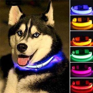 الياقة الساخنة LED نايلون كلب ليلة السلامة LED ضوء وامض توهج في الظلام كلب صغير الكلب المقود الحيوانات الأليفة الياقة اللمعان السلامة