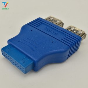 100pcs lot 20Pin to 2 USB 3.0 USB3.0 Female Cable Adapter Conenector Computer Mainboard 19Pin to USB Adapter Converter HY218